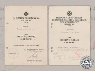 Germany, Luftwaffe. Two Iron Cross Award Documents To Feldwebel Friedhelm Decker, 1944
