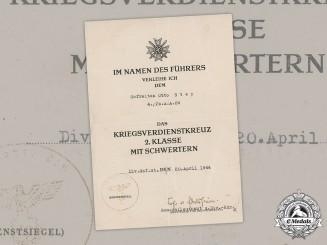 Germany, Heer. A War Merit Cross II Class Award Document, Panzer-Aufklärungs-Abteilung