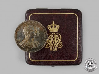 Germany, Imperial. A 50th Wedding Anniversary Silver Medal with Case, by Emil Weigand, c.1900