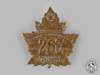 """Canada, CEF. A 257th Infantry Battalion """"Canadian Railway Construction Battalion"""" Cap Badge, Type II with """"Canadian Railway"""""""