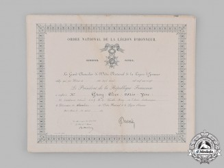 France, III Republic. A National Order of the Legion of Honour Document to Assistant Adjutant-General Lieutenant-Colonel Clive Osric Vere Gray, C.M.G., D.S.O., Seaforth Highlanders 1920