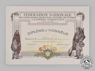 France, III Republic. A National Federation of the Associations of Mutilated, Victims of War and Veterans Affairs Honour Diploma 1933