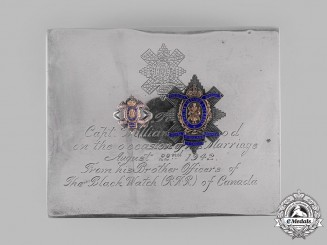 Canada, Commonwealth. A Silver Cigarette Box, Named, Royal Highland Regiment, 1942