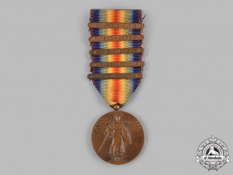 United States. A World War I Victory Medal, 5 Clasps