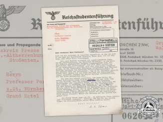 Germany, NS-Altherrenbund. A Letter from NS League to Automobile Developer Prof. Porsche, 1938