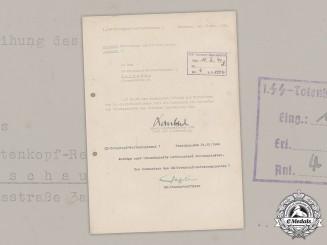 Germany, SS. Letter Signed by KC Recipients SS-Standartenführer Fegelein and SS-Hauptsturmführer Lombard, 1940