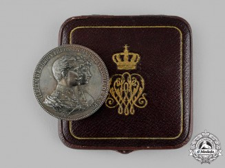 Germany, Imperial. A 50th Wedding Anniversary Silver Medal, with Case, by Emil Weigand