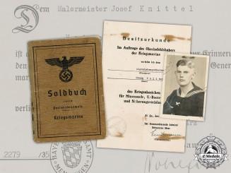 Germany, Kriegsmarine. The Soldbuch, Award Documents, and Photographs of Signalobergefreiten Georg Knittel and Malermeister Josef Knittel