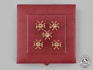 Vatican. A Spink-Made Set of Five Pontifical Equestrian Order of St. Gregory the Great Gold Boutonnières