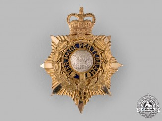 United Kingdom. A QEII Royal Marines Officer's Helmet Plate