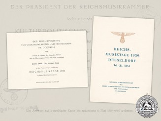 Germany, Third Reich. An Invitation to the 1939 Reich Days of Music in Düsseldorf to Dr. Robert Haas