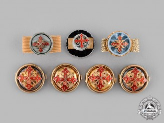 International. A Sacred Military Constantinian Order of Saint George Button Covers and Rosettes