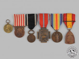 Belgium, Kingdom; France, Third Republic. Six Awards & Decorations
