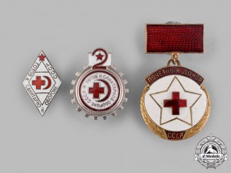 Russia, Soviet Union. Three Badges