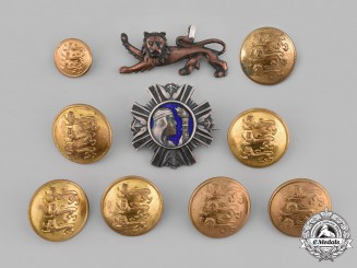 Estonia, Republic. A Lot of Cap Insignia and Buttons