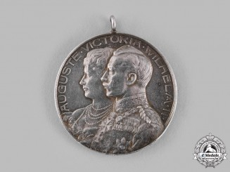 Germany, Imperial. A 1906 Kaiser Wilhelm II and Kaiserin Auguste Victoria 25th Wedding Anniversary Medal