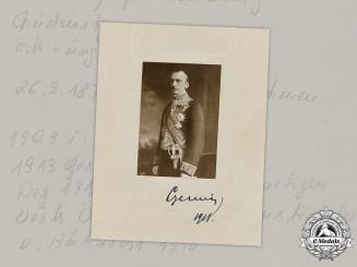 Austria-Hungary, Empire. A 1918 Signed Photograph of Ottokar Czernin