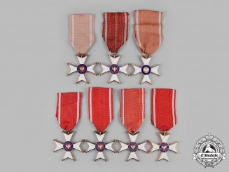 Poland, People's Republic. A Lot of Seven Order of Polonia Restituta, V Class Member Badges
