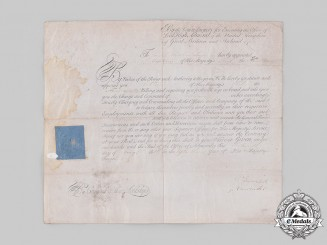 United Kingdom. A Napoleonic Captain Appointment Document of the HMS Kent to Captain Joseph Needham Tayler, 1813.