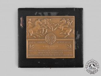Germany, Weimar Republic. A German Equestrian Federation (DRV) Special Merit Plaque, with Case, to Karl Rusch