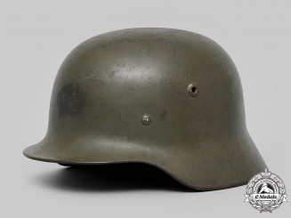 Germany, SS. A Waffen-SS M35/40 Single Decal Steel Helmet, by Schuberth Werk