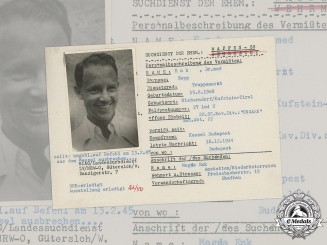 Germany, SS. A SS HIAG Tracing Service File for Dr. Sepp Enk