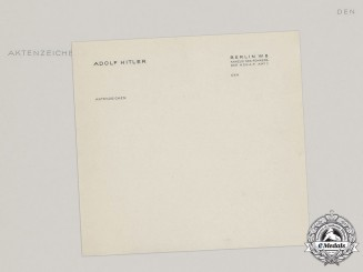 Germany, NSDAP. A Mint and Unused Reichs Chancellery Stationary Sheet