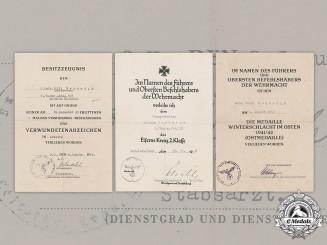 "Germany, Heer. Three Award Documents To Signals Obergefreiter Wilhelm ""Willi"" Herbergs (EK2)"