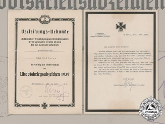 Germany, Kriegsmarine. A Posthumous U-Boat War Badge Award Document & Death Notice (KIA), 1943