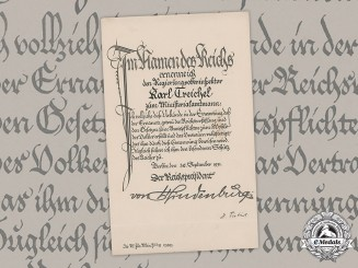 Germany, Weimar Republic. An Appointment Document To Ministerialamtmann Karl Treichel With Original Hindenburg Signature