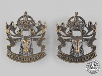 Canada. A Royal Newfoundland Regiment Militia Collar Badge Pair, by Scully, c.1942