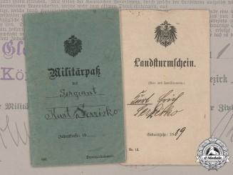 Germany, Imperial. A Militärpaß and Landsturmschein to Sergeant Kurt Serzisko (EK1)