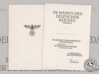 Germany, Third Reich. An Eagle Merit Medal with Swords Document to Spanish Corporal Don Alejandro Sampedro, c.1939