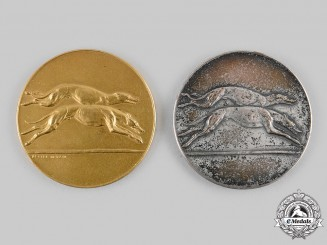 Germany, Third Reich. A Pair of 1939 Berlin Greyhound Racing Medals, by Dertel