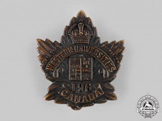 "Canada, CEF. A 196th Infantry Battalion ""Western Universities C.E.F. Battalion"" Cap Badge, c.1916"
