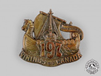 "Canada, CEF. A 197th Infantry Battalion ""Scandinavian Overseas Battalion / Vikings of Canada"" Cap Badge, c.1916"
