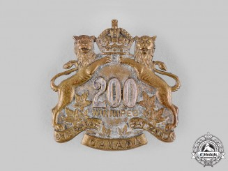 "Canada, CEF. A 200th Infantry Battalion ""Winnipeg Battalion"" Officer's Cap Badge, by Birks"