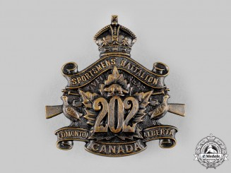 Canada, CEF. A 202nd Infantry Battalion Cap Badge, by Jackson Bros, c.1916