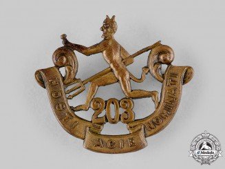 "Canada, CEF. A 203rd Infantry Battalion ""Winnipeg Rifles"" Cap Badge, by Birks, c.1916"