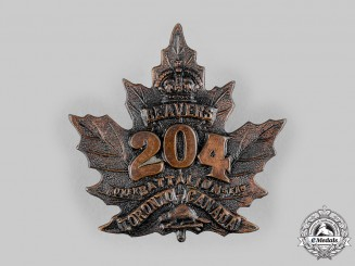 "Canada, CEF. A 204th Infantry Battalion ""Toronto Beavers"" Cap Badge, c.1916"