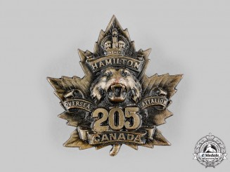 "Canada, CEF. A 205th Infantry Battalion ""Hamilton Tiger Battalion"" Cap Badge, c.1916"