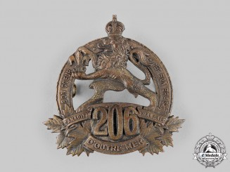 "Canada, CEF. A 206th Infantry Battalion ""Canadiens Français"" Cap Badge, c.1918"