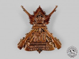 "Canada, CEF. A 150th Infantry Battalion ""150th Carabiniers Mont Royal"" Cap Badge, c.1915"