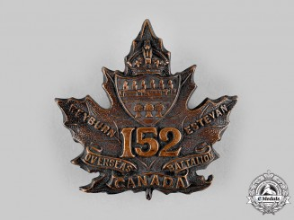 """Canada, CEF. A 152nd Infantry Battalion """"Weyburn East Battalion"""" Cap Badge, c.1915"""