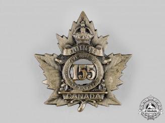 "Canada, CEF. A 155th Infantry Battalion ""Quinte Battalion"" Cap Badge, c.1915"