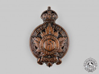 """Canada, CEF. A 157th Infantry Battalion """"Simcoe Foresters"""" Cap Badge, c.1915"""