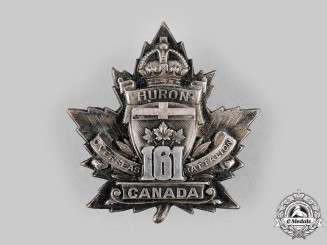 Canada, CEF. A 161st Infantry Battalion Officer's Cap Badge, by G.F.Hemsley, c.1915