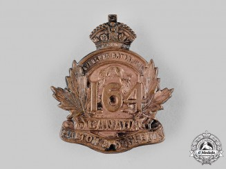 "Canada, CEF. A 164th Infantry Battalion ""Halton and Dufferin Battalion"" Cap Badge, c.1915"