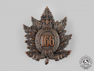 "Canada, CEF. A 166th Infantry Battalion ""Queen's Own Rifles of Canada"" Cap Badge, c.1915"