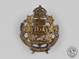 "Canada, CEF. A 167th Infantry Battalion ""Canadiens Français"" Cap Badge, c.1916"